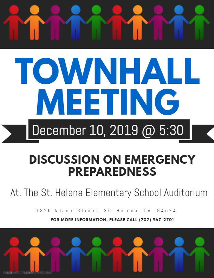 Town Hall on Emergency Preparedness - Tuesday, December 10, 2019 @ 5:30 p.m.