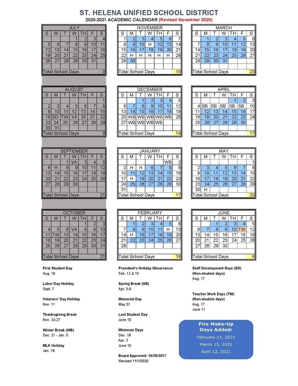Academic Calendar / 2020 2021